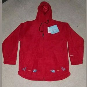 Inuk Fleece Embroidered Jacket Red Womens Size L